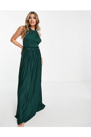 ASOS Halter belted pleated maxi dress in