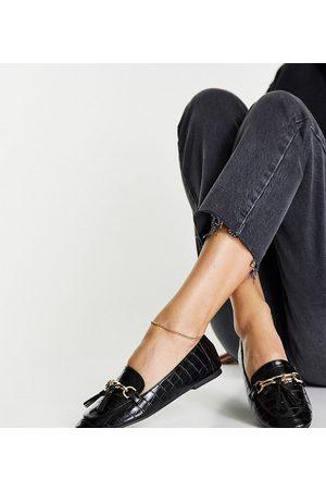 London Rebel Wide fit metal trim loafers in black croc