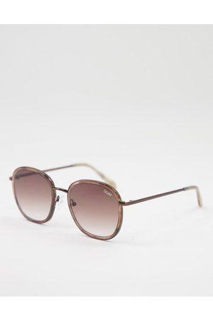 Quay Australia Women Sunglasses - Quay Jezabell Inlay women's round sunglasses in beige