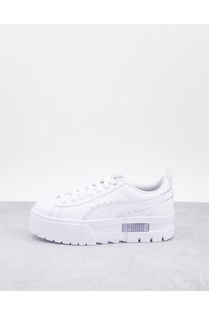 PUMA Mayze platform sneakers in white and silver