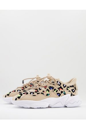 adidas Ozweego Plus trainers in with colourful leopard print-Neutral