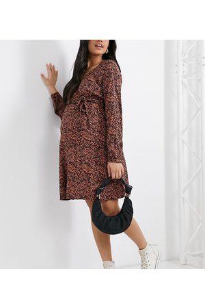 Mama Licious Mamalicious Maternity v-neck mini dress in floral print