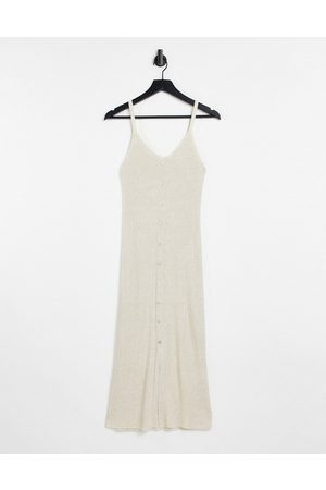 Object Lucilla sleeveless knitted dress in beige-Neutral