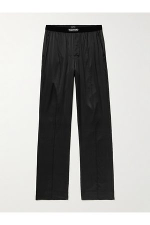TOM FORD Men Stretch Pants - Velvet-Trimmed Stretch-Silk Satin Pyjama Trousers
