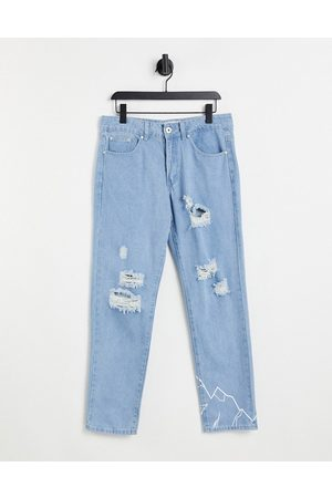 Liquor N Poker Co-ord straight leg jeans in stonewash with distressing and mountain print