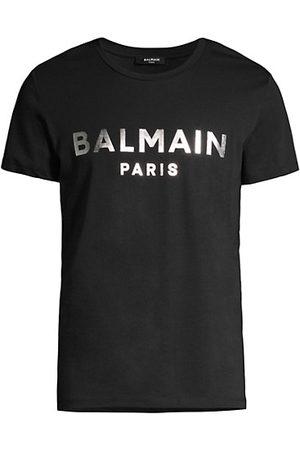 Balmain Men Short Sleeve - Silver Metallic Logo Cotton T-Shirt