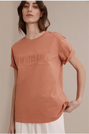 COUNTRY ROAD Verified Australian Cotton Heritage Embroidered T-Shirt - Beach