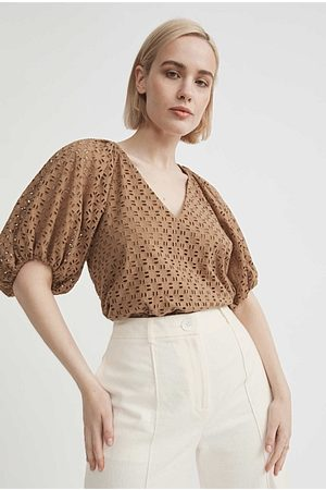 WITCHERY Cotton Broderie Puff Sleeve Blouse