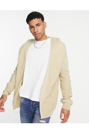 ASOS DESIGN Muscle fit basket stitch cardigan in oatmeal-Neutral
