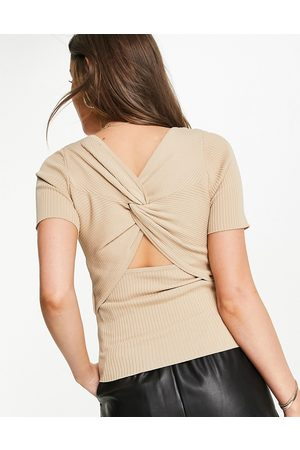 Morgan Knitted rib twist open back top in -Brown
