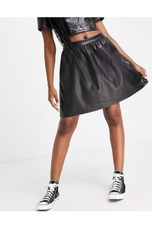 Vila Leather look mini skirt with elasticated back waistband in