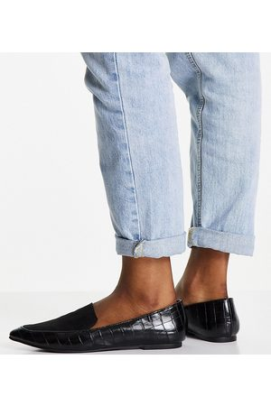 London Rebel Wide Fit pointed flat loafers in black
