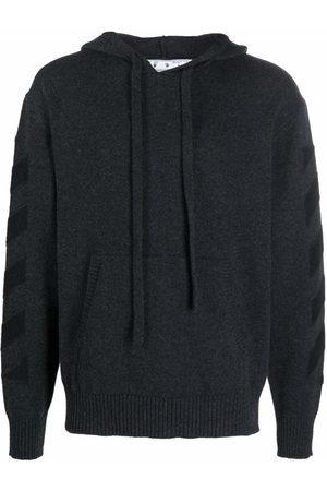 Off-White Diagonal stripe pattern knitted hoodie