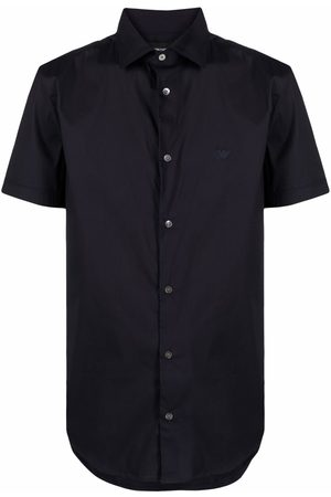 Emporio Armani Men Short sleeves - Logo-embroidered short-sleeved shirt