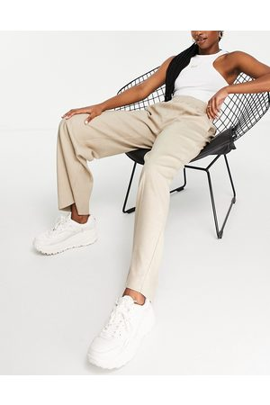 SELECTED Women Wide Leg Pants - Femme recycled wide leg pants with front crease and elasticated waist in sand-White