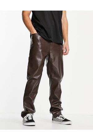 ASOS Men Chinos - Dad fit pants in leather look