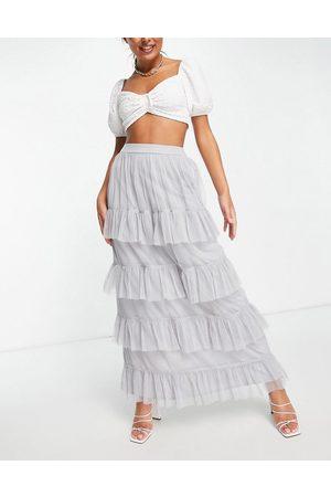 Little Mistress Tiered frill maxi skirt in