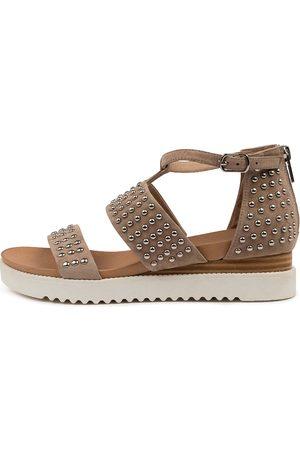 Django & Juliette Audiens Dj Taupe Sole Sandals Womens Shoes Casual Sandals Flat Sandals