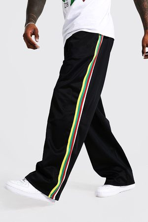 Boohoo Men Joggers - Mens Extreme Wide Leg Tricot Side Tape Joggers