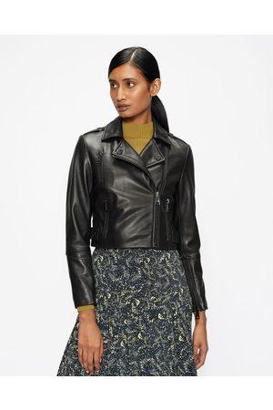 Ted Baker Women Leather Jackets - Cropped Leather Biker Jacket