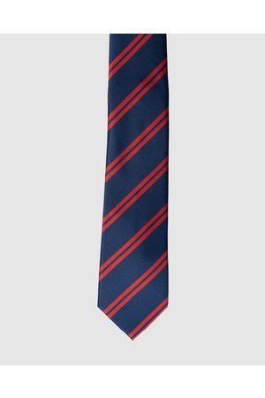 RUMI Stripe Navy & Red Necktie - Ties (Navy) Stripe Navy & Red Necktie