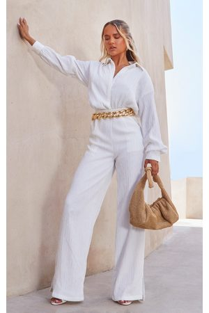 PRETTYLITTLETHING Linen Look Drape Jumpsuit