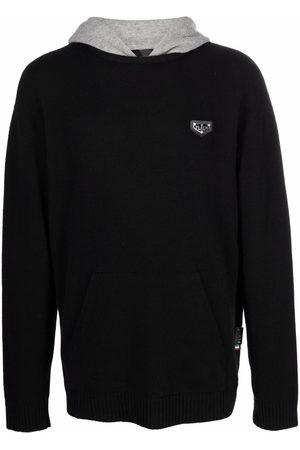 Philipp Plein Men Hoodies - Logo-plaque knitted hoodie