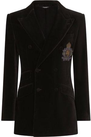Dolce & Gabbana Velvet-effect double-breasted blazer