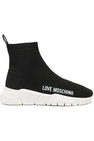 Love Moschino Women Flat Shoes - Logo-print slip-on sneakers