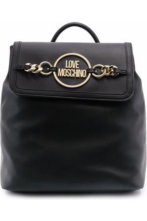 Love Moschino Women Backpacks - Chain-embellished faux-leather backpack