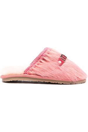 Mou Women Flat Shoes - Furry logo-lettered slippers