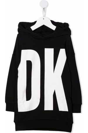 DKNY Women Casual Dresses - Logo-print hooded jumper dress