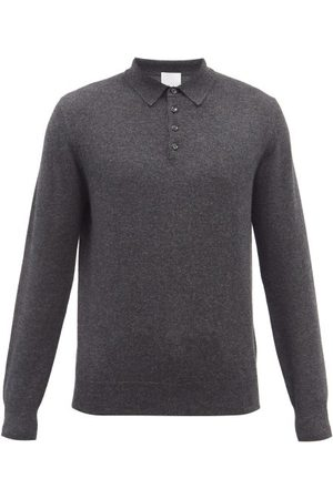 Allude Men Long sleeves - Long-sleeve Cashmere Polo Shirt - Mens - Dark