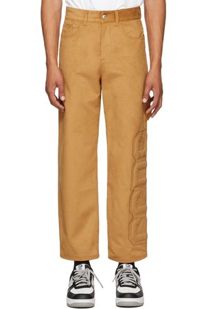 GCDS Men Leather Pants - Tan Faux-Suede Logo Trousers