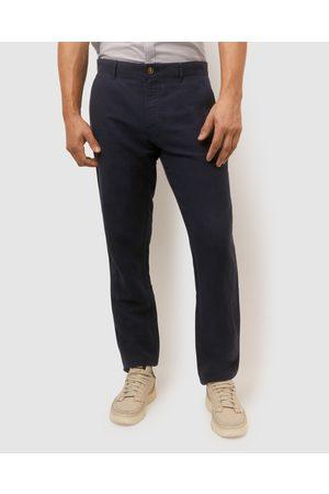 Sportscraft Men Chinos - Linen Cotton Chinos - Pants (Navy) Linen Cotton Chinos