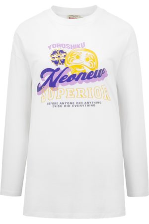 Evisu Women Short Sleeve - Daruma and Logo Print T-Shirt