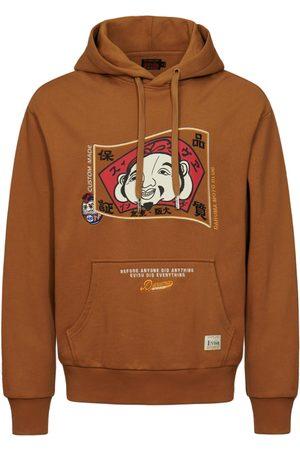 Evisu Men Hoodies - Hooded Sweatshirt with Godhead Flag and Daruma Embroidery