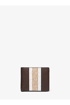Michael Kors Wallets - MK Hudson Pebbled Leather Logo Stripe Billfold Wallet With Coin Pouch - - Michael Kors
