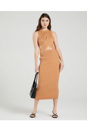 AERE Twist Waist Knit Dress - Bodycon Dresses (Caramel) Twist Waist Knit Dress