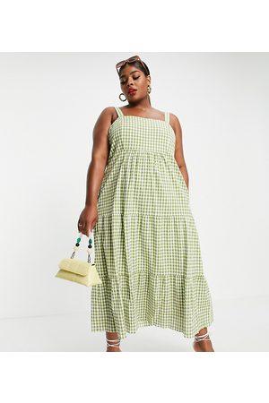 Forever New Square-neck tiered midi smock dress in -Multi