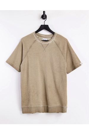 Only & Sons Men Sweatshirts - Organic cotton co-ord regular short sleeve washed sweat in tan-Brown