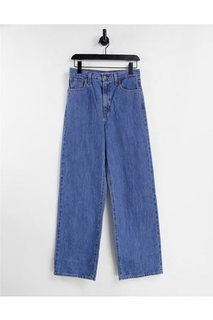 Levi's High waisted straight leg jeans in mid wash-Blue
