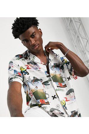 COLLUSION Short sleeve revere shirt in digital print