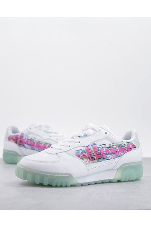 Ellesse Tanker low court leather sneakers in white/blue mix-Multi
