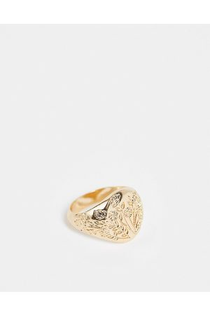 ASOS Signet ring with flower drawing design in tone