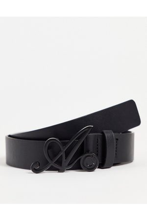 ASOS Men Belts - ASOS Actual slim belt in faux leather with 'A' buckle detail