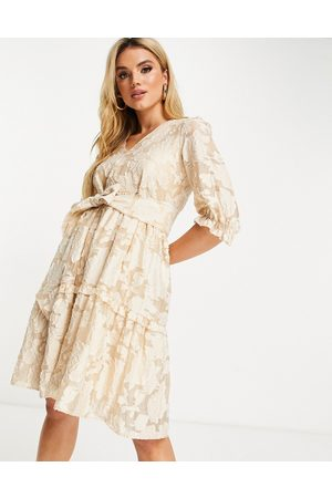 SELECTED Floral jacquard sadie mini dress in cream-White