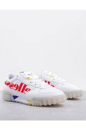 Ellesse Women Sneakers - Tanker low court leather sneakers in white/red mix-Multi