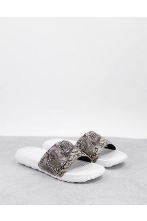 Nike Women Thongs - Victori sliders in off and snake print-Multi