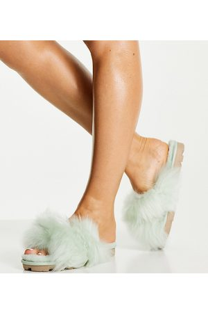 UGG Exclusive Fuzzalicious cross strap slippers in -Green